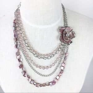 NY&Co Lavender Flower Tier Statement Necklace